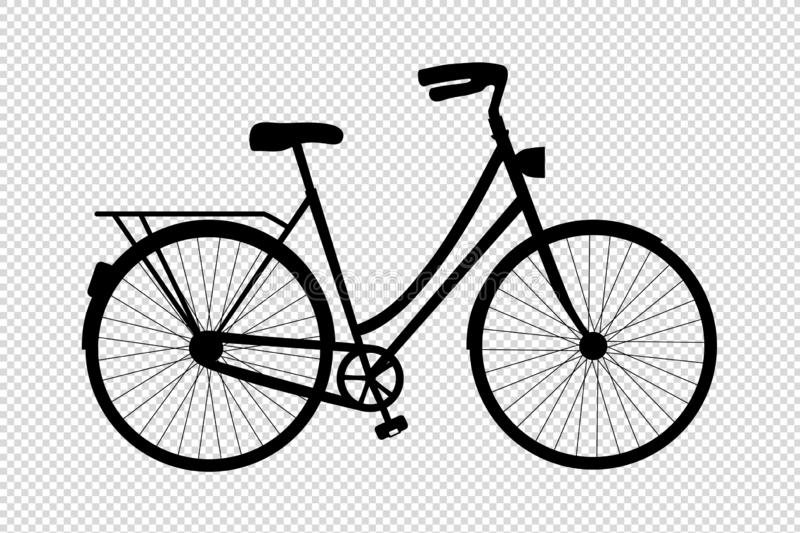 Bicycle Silhouette - Vector Illustration - Isolated On Transparent Background stock illustration