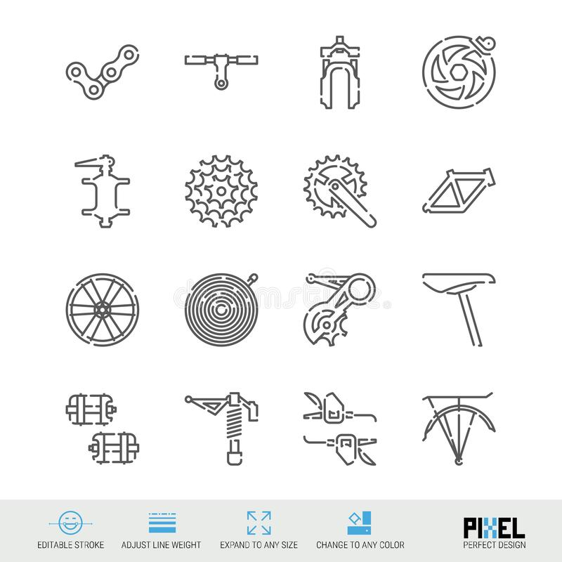 Bicycle Spare Parts Vector Line Icons Set. Bike Shop, Maintenance and Repair Linear Symbols, Pictograms, Signs. Bicycle Spare Parts Vector Line Icons Set. Bike stock illustration