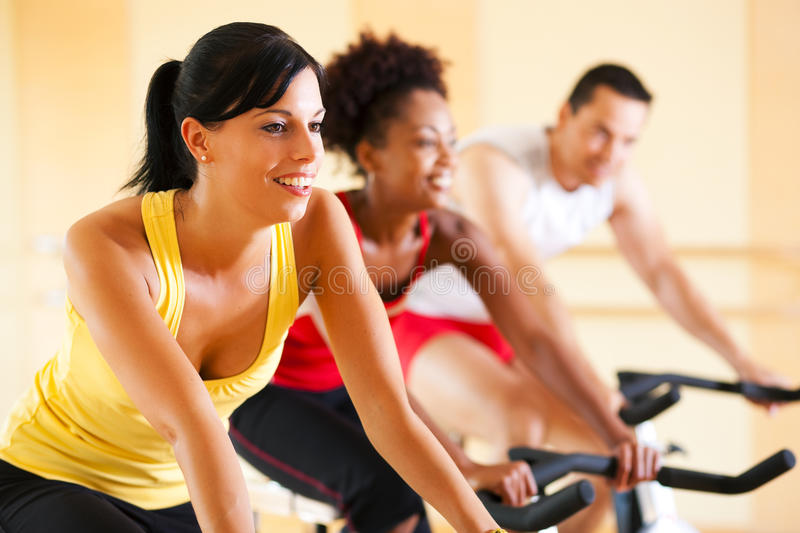 Download Bicycle Spinning in gym stock image. Image of caucasian - 12401259