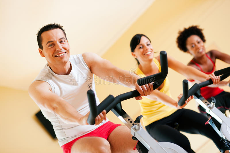 Bicycle Spinning in gym royalty free stock photo
