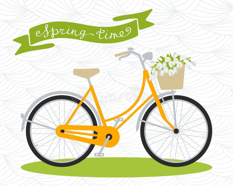 Bicycle. Spring time. Vector illustration in flat style. Bicycle with basket of flowers. Bouquet of snowdrops. Spring time vector illustration
