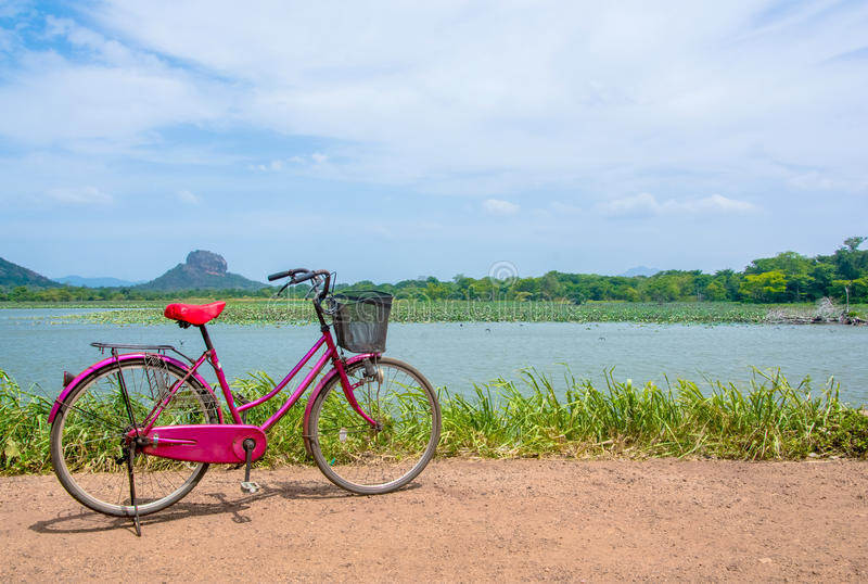The bicycle stands on a village road at Thalkote lake near Sigiriya. Renting a bicycle and cycling around Sigiriya village is the most popular way among the royalty free stock photography