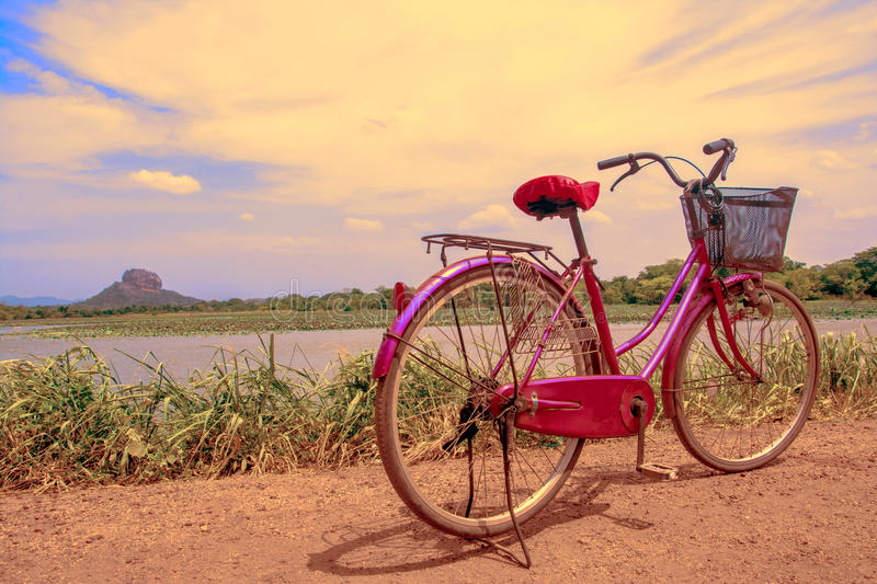 The bicycle stands on a village road at Thalkote lake near Sigiriya. Renting a bicycle and cycling around Sigiriya village is the most popular way among the royalty free stock images