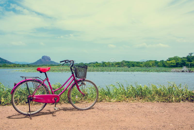 The bicycle stands on a village road at Thalkote lake near Sigiriya. Renting a bicycle and cycling around Sigiriya village is the most popular way among the royalty free stock photos