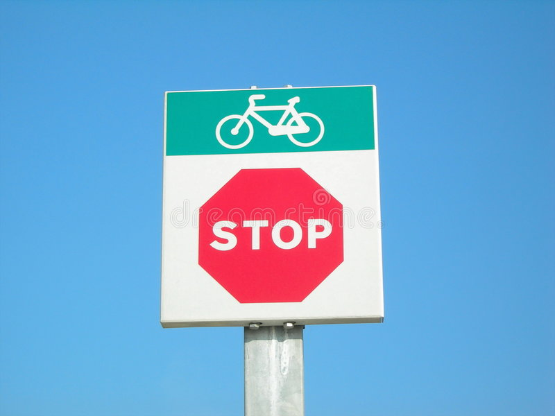 Bicycle stop. Signal of bicycle stop; end of bicycle lane royalty free stock images