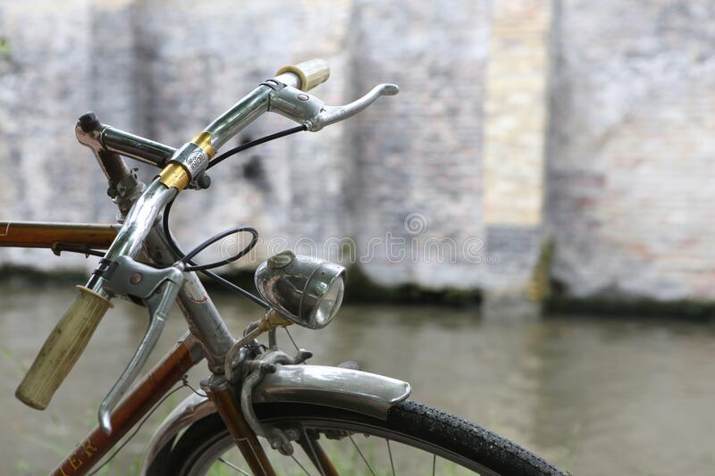 Bicycle in street stock image