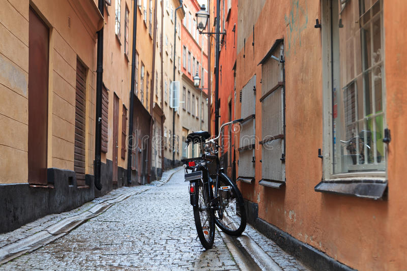Bicycle on streets of Stockholm royalty free stock image