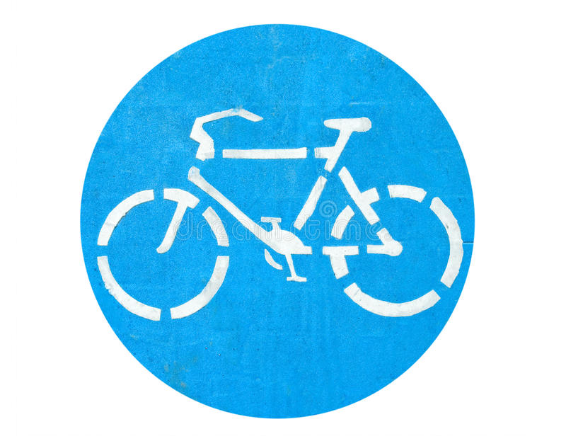 Bicycle Symbol On The Ground Isolated Stock Image