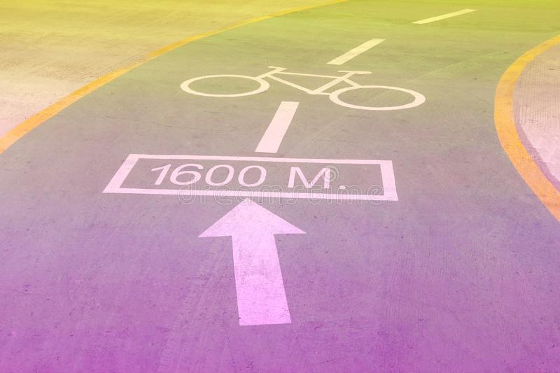 Bicycle symbol on racecourse,filter effect.  royalty free stock images