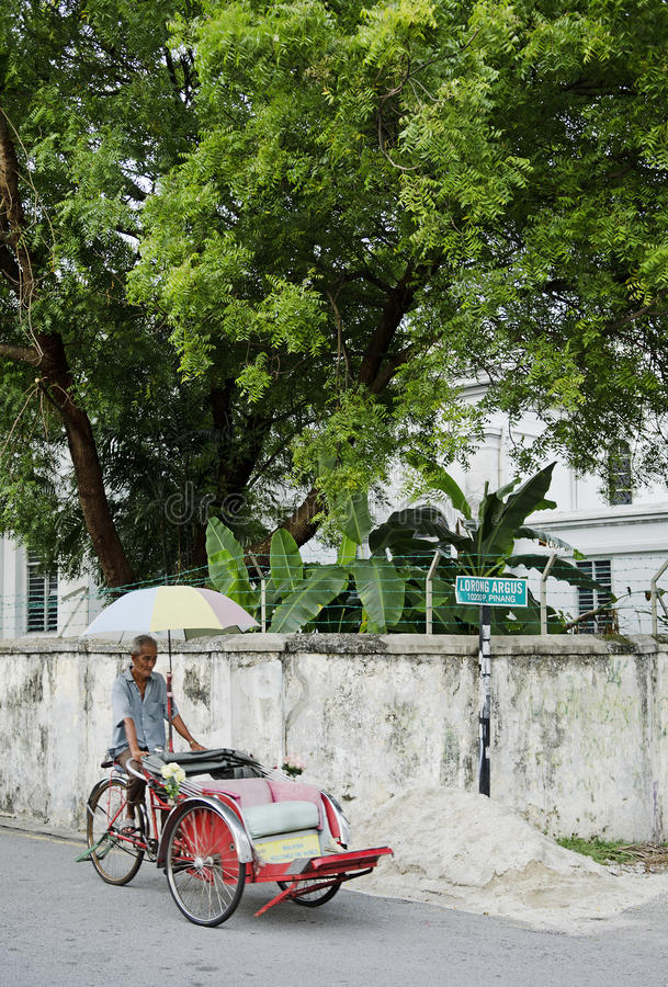 Bicycle taxi in penang malaysia royalty free stock photos