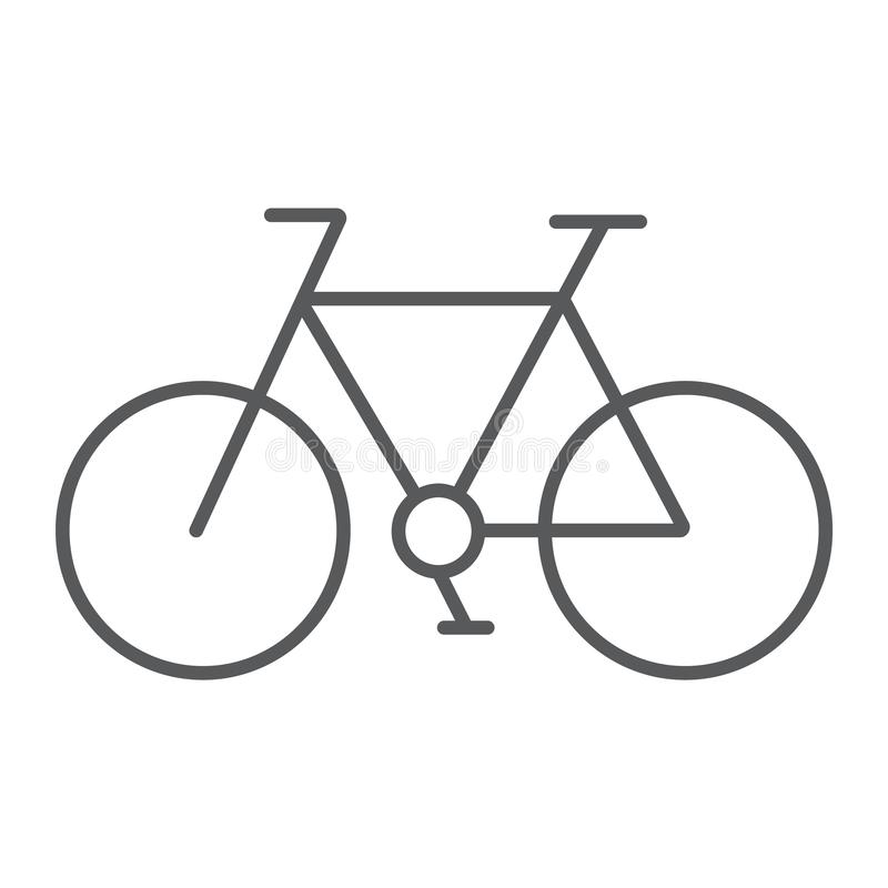 Bicycle thin line icon, cycle and sport, bike sign, vector graphics, a linear pattern on a white background. Bicycle thin line icon, cycle and sport, bike sign stock illustration