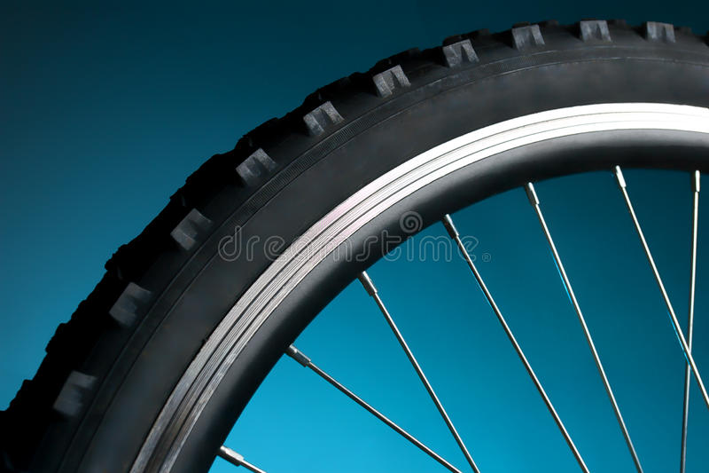 Bicycle tire and spoke wheel stock photography
