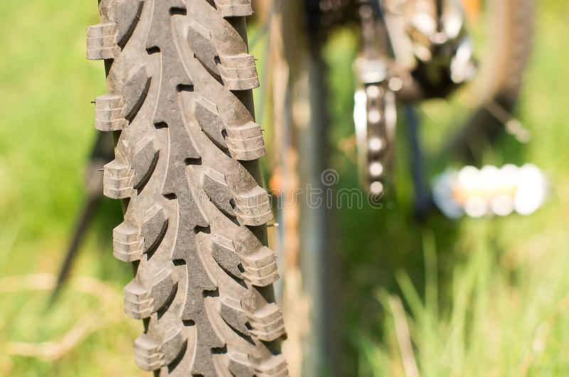 Bicycle tire. And tread mountain bike stock images