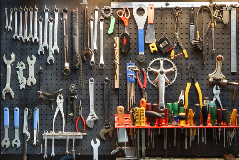 Bicycle tools background. / Equipment for bicycle shop stock photo