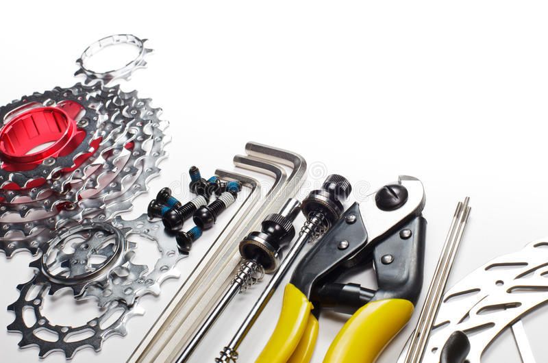 Bicycle tools and spares stock photos