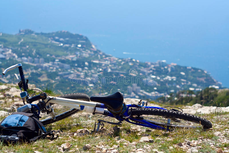 Download Bicycle at top of mountain stock photo. Image of travel - 17952006