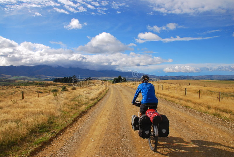 Bicycle Touring in New Zealand stock image
