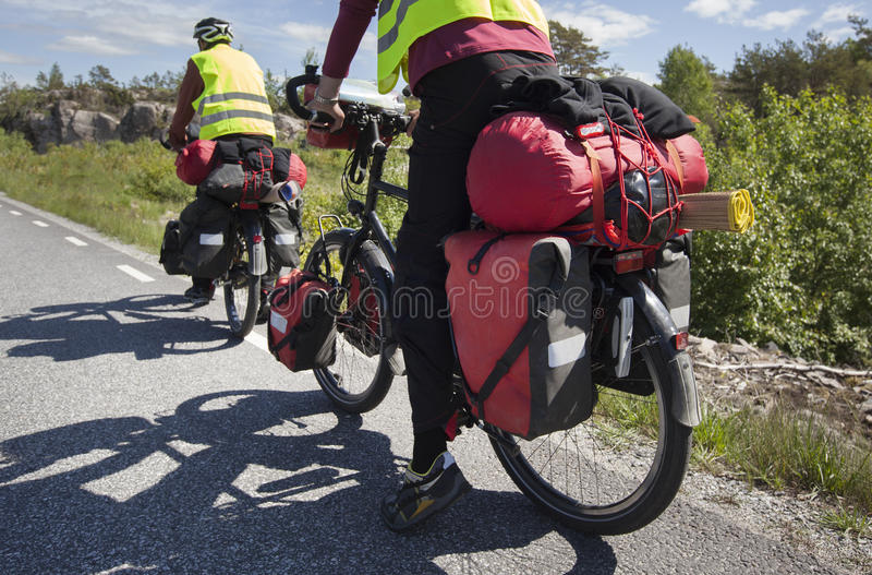 Bicycle Touring on the road royalty free stock photo