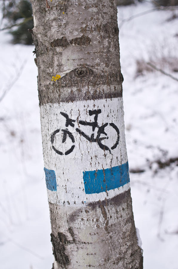 Bicycle track during the winter royalty free stock photo