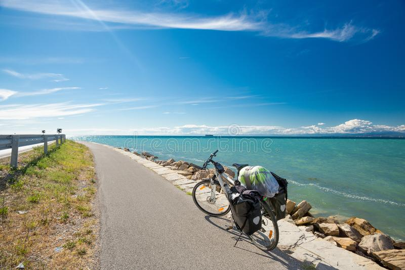 Bicycle travel by the sea royalty free stock photography