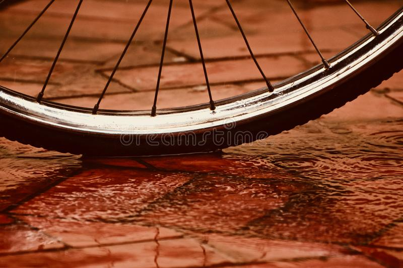 A bicycle tyre object unique photograph. A bicycle tyre on a wet surface unique stock photograph stock photography