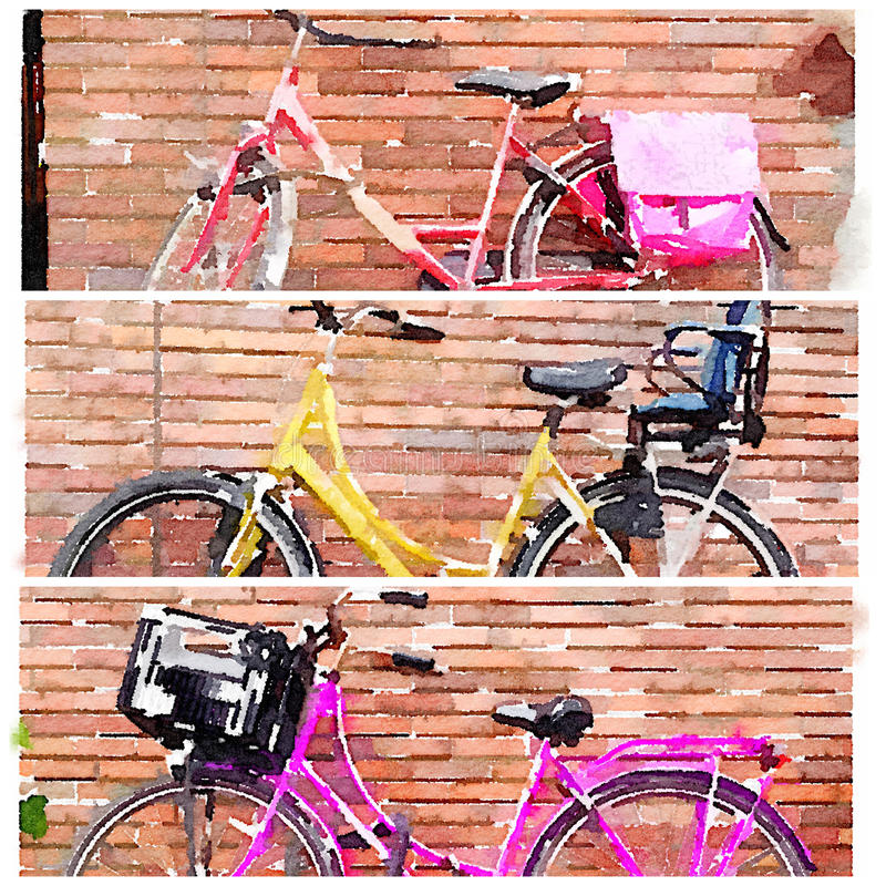 Bicycle uma colagem da aquarela de 3 bicicletas no tríptico ilustração stock