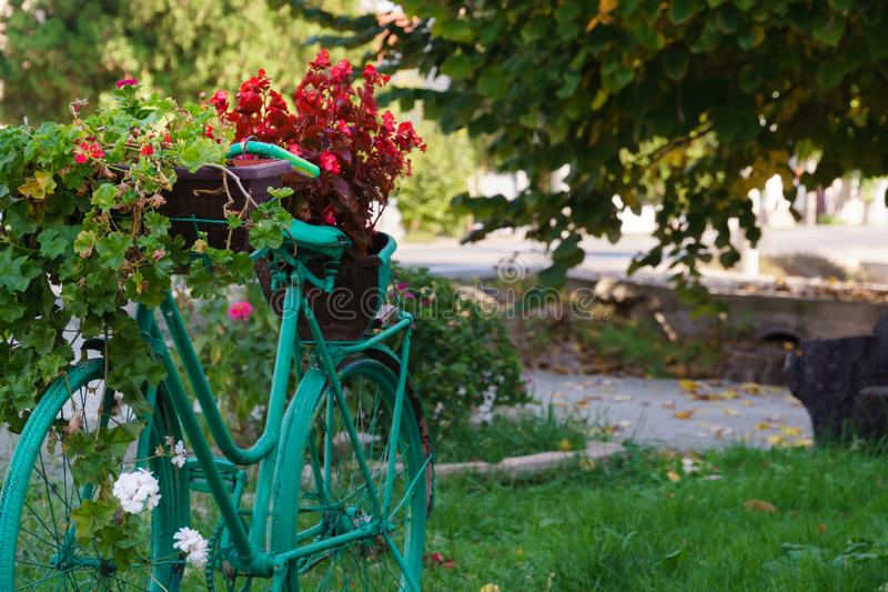 Bicycle used as a decoration, Colorful backyard royalty free stock images