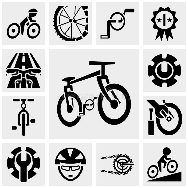 Bicycle vector icons set on gray