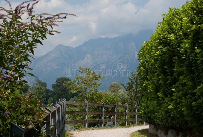 Bicycle and walking path. Alp mountains on background. Como lake, Colico, Italy.  stock image