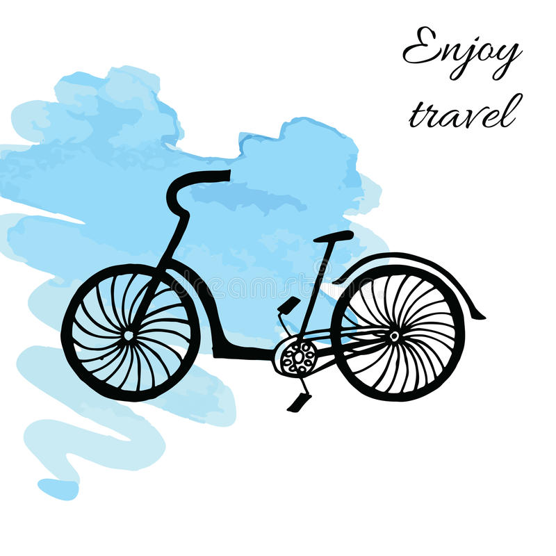 Bicycle on watercolor background royalty free illustration