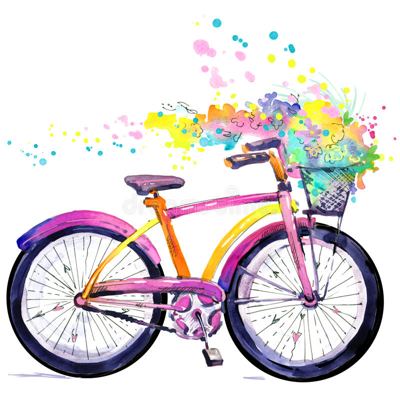 Bicycle. Watercolor bicycle and flower background. Hello Spring watercolor text. stock illustration