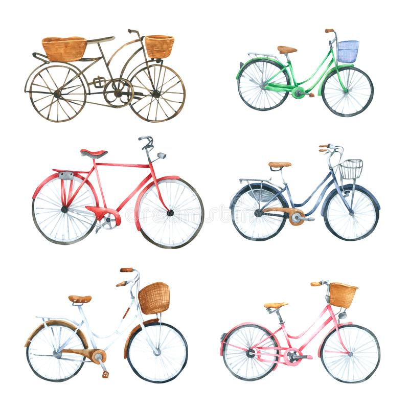 Free Bicycle Watercolor Isolated On White Background. Hand Drawn Painted Royalty Free Stock Image - 161650386