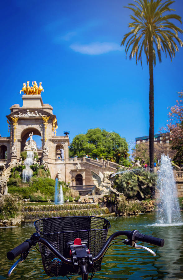 Download Bicycle Wheel In Front Of Beautiful Fountain In Barcelona Stock Image - Image of famous, bicycle: 83723447