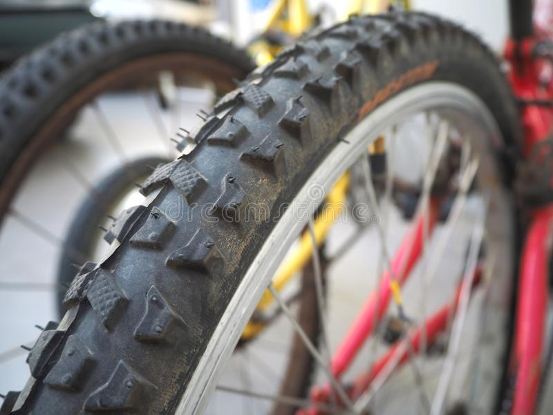 Bicycle wheel, Part of the Mountain Bike wheel. Bicycle wheel and tire close up stock photo