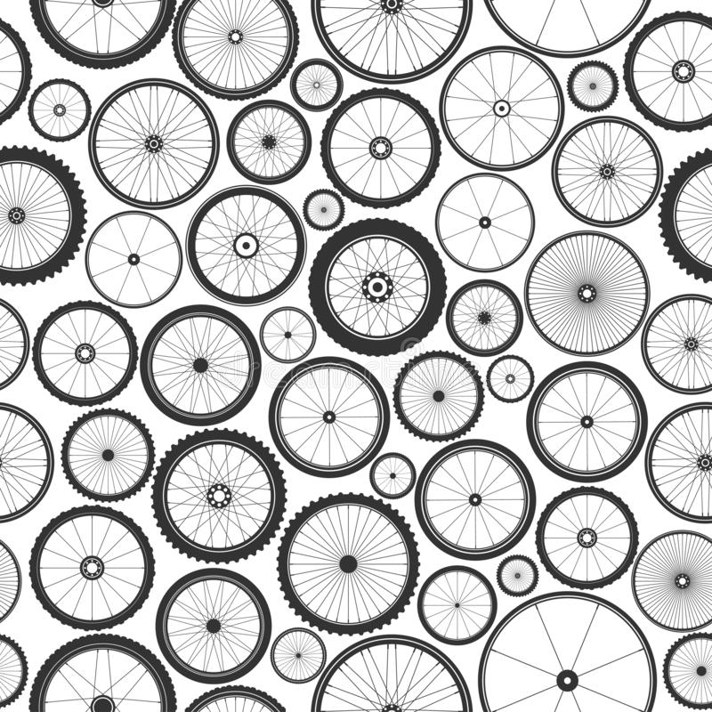 Bicycle wheel seamless pattern. Bike rubber mountain tyre, valve. Fitness cycle, mtb, mountainbike. Vector illustration. Bicycle wheel seamless pattern. Bike stock illustration