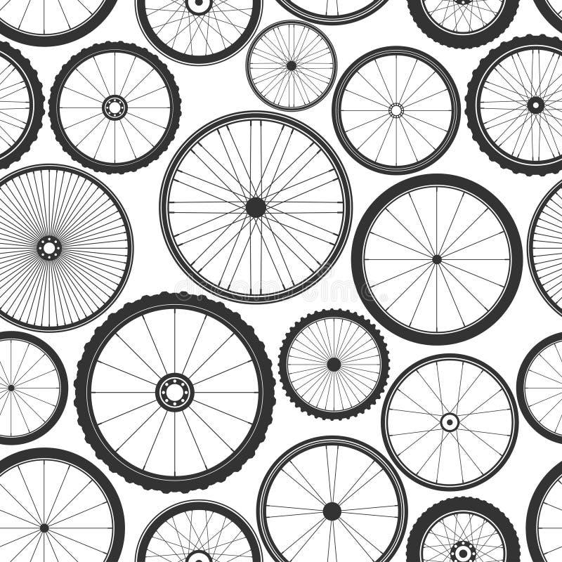 Bicycle wheel seamless pattern. Bike rubber mountain tyre, valve. Fitness cycle, mtb, mountainbike. Vector illustration. Bicycle wheel seamless pattern. Bike royalty free illustration