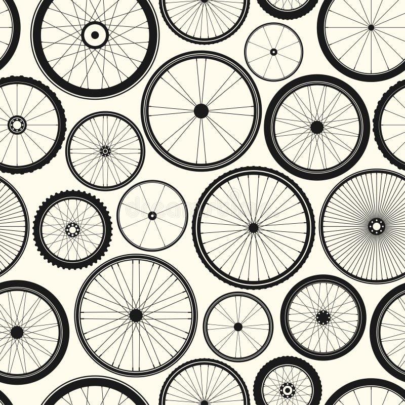 Bicycle wheel seamless pattern. Bike rubber mountain tyre, valve. Fitness cycle, mtb, mountainbike. Vector illustration. Bicycle wheel seamless pattern. Bike vector illustration