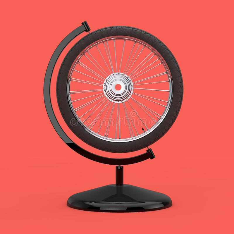 Bicycle Wheel in the Shape of Earth Globe. 3d Rendering. Bicycle Wheel in the Shape of Earth Globe on a pink background. 3d Rendering stock illustration