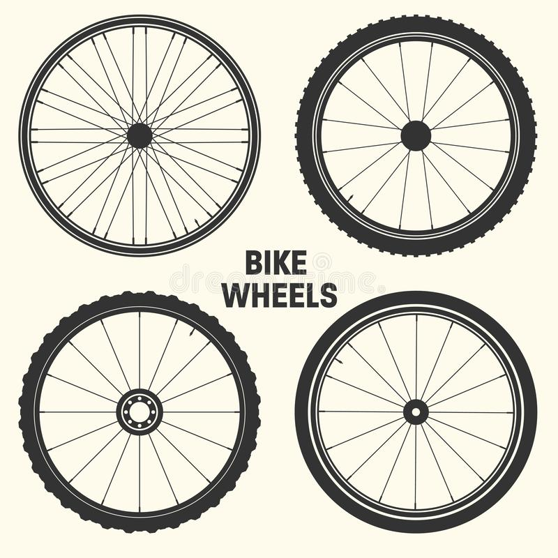 Bicycle wheel symbol vector illustration. Bike rubber mountain tyre, valve. Fitness cycle, mtb, mountainbike. Bicycle wheel symbol vector illustration. Bike vector illustration