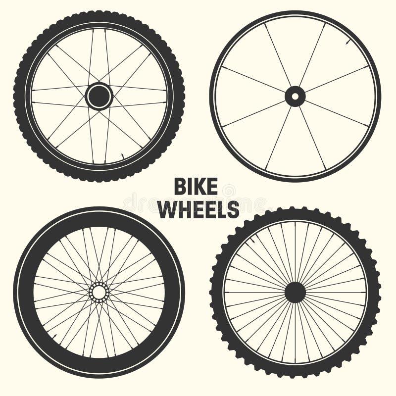 Bicycle wheel symbol vector illustration. Bike rubber mountain tyre, valve. Fitness cycle, mtb, mountainbike. Bicycle wheel symbol vector illustration. Bike royalty free illustration