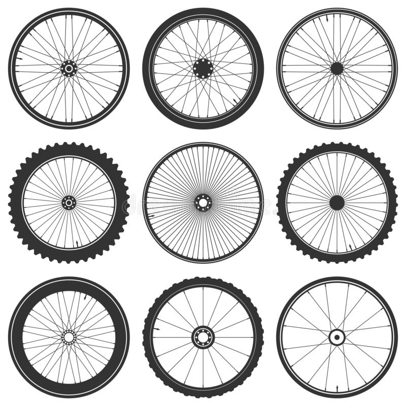 Bicycle wheel symbol vector illustration. Bike rubber mountain tyre, valve. Fitness cycle,mtb,mountainbike. Bicycle wheel symbol vector illustration. Bike vector illustration