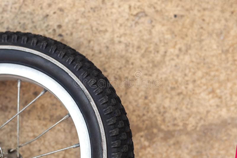 Bicycle wheel and tire close up. Copy space. Bicycle wheel and tire close up. front wheel of road bike royalty free stock photos