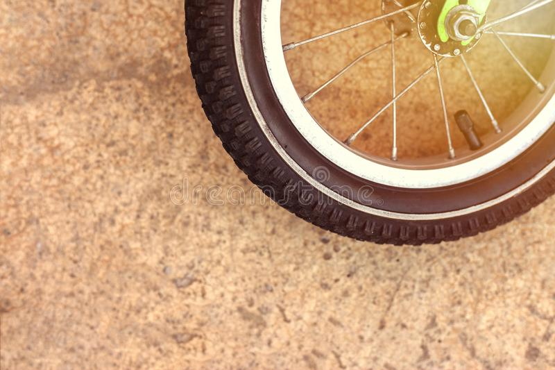 Bicycle wheel and tire close up. Copy space. Bicycle wheel and tire close up. front wheel of road bike stock images