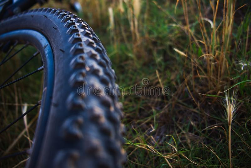 Bicycle wheel and tire closeup stock photography