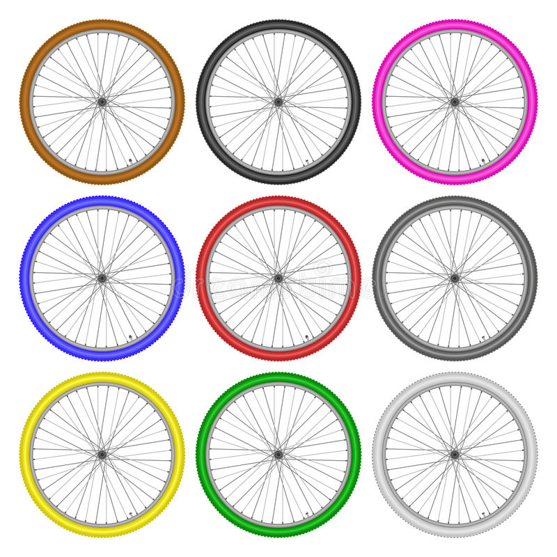 Bicycle wheels different color set on white background vector royalty free illustration