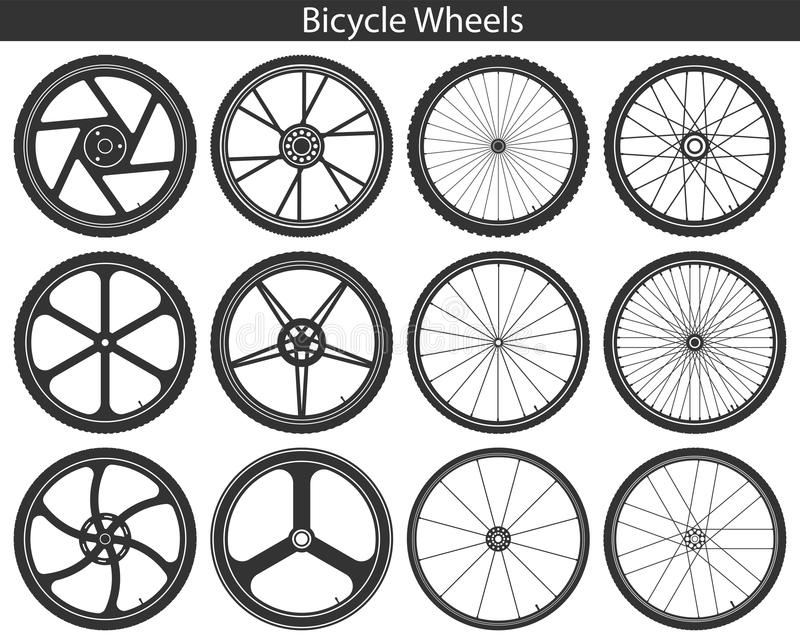 Bicycle Wheels with different tires: mountain, sports, touring, royalty free illustration