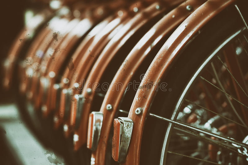 Bicycle wheels effect retro vintage style stock photography
