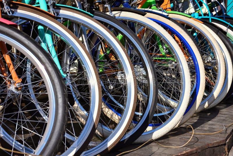 Bicycle wheels. Row of bicycle wheels, bicycle wheels royalty free stock images
