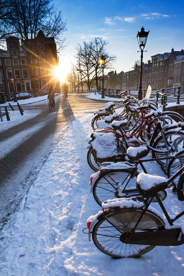 Bicycle winter sunrise stock images