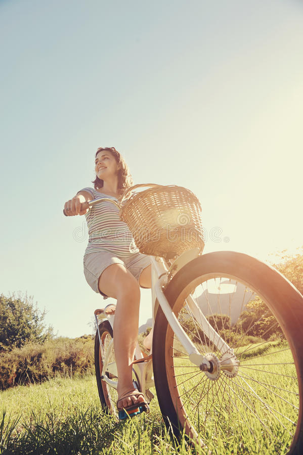 Bicycle woman royalty free stock images